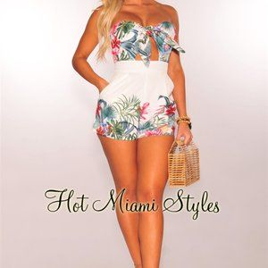 White Palm Floral Tie Up Strapless Padded Romper